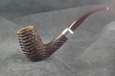 Pipe Pierre Morel BENT CHIMNEY SILVER CUMBERLAND